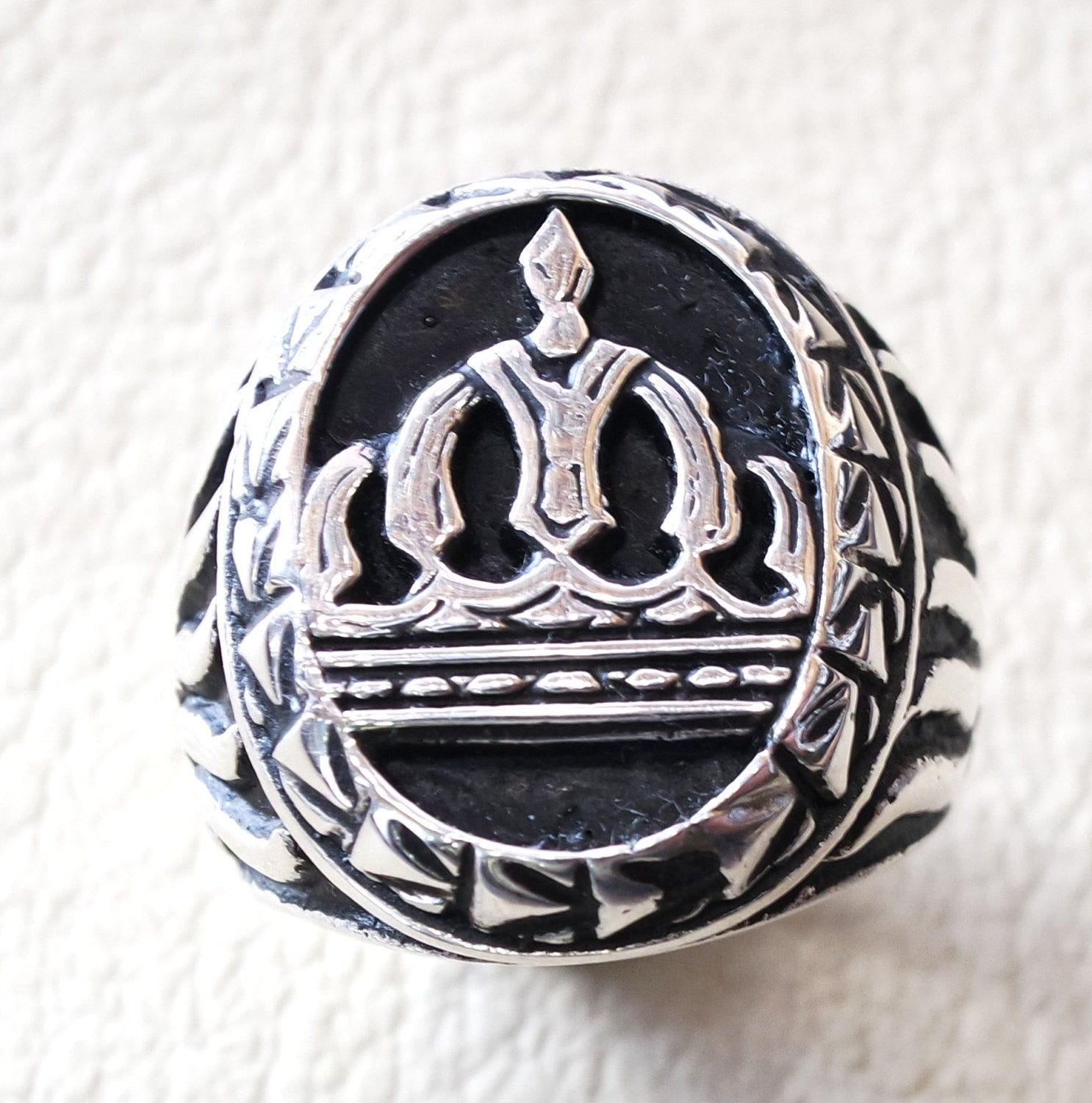 vintage style king royal crown men ring heavy sterling silver 925  handmade all sizes jewelry fast shipping