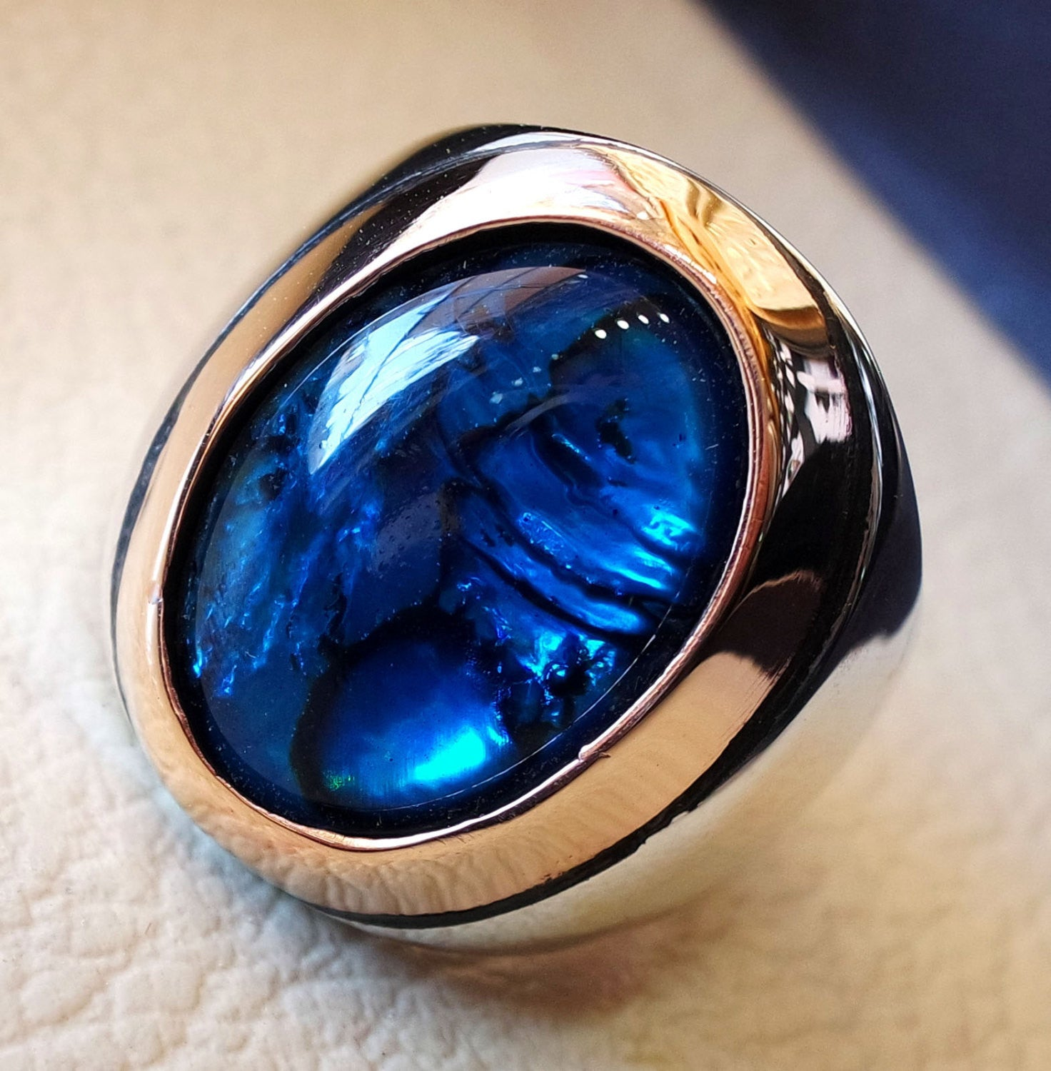 heavy men ring paua abalone shell blue oval stone ottoman arabic style two tone sterling silver 925 all sizes fast shipping