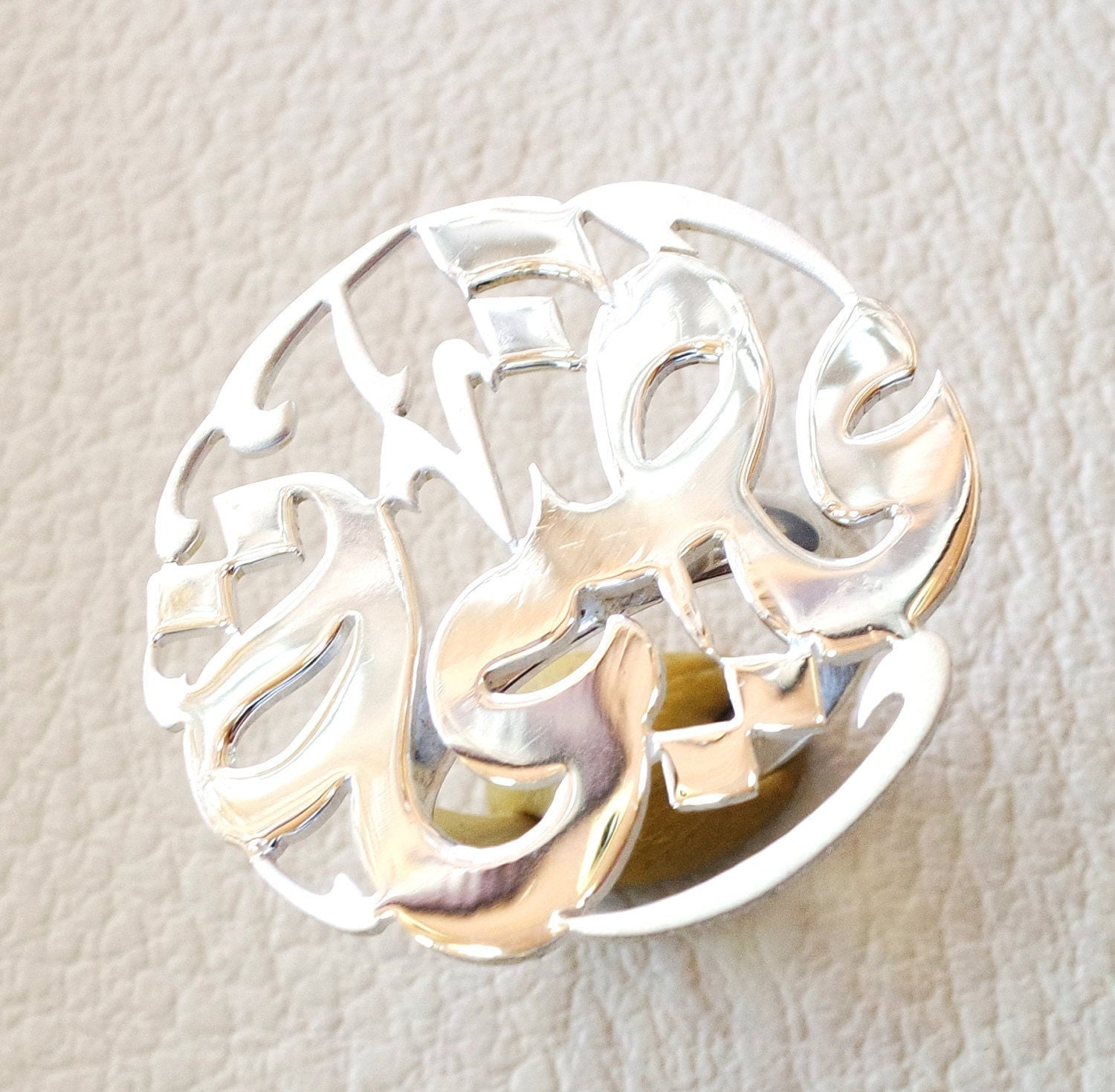 arabic calligraphy customized name sterling silver 925 high quality polishing ring round shape , fit all sizes any name خاتم اسماء عربي