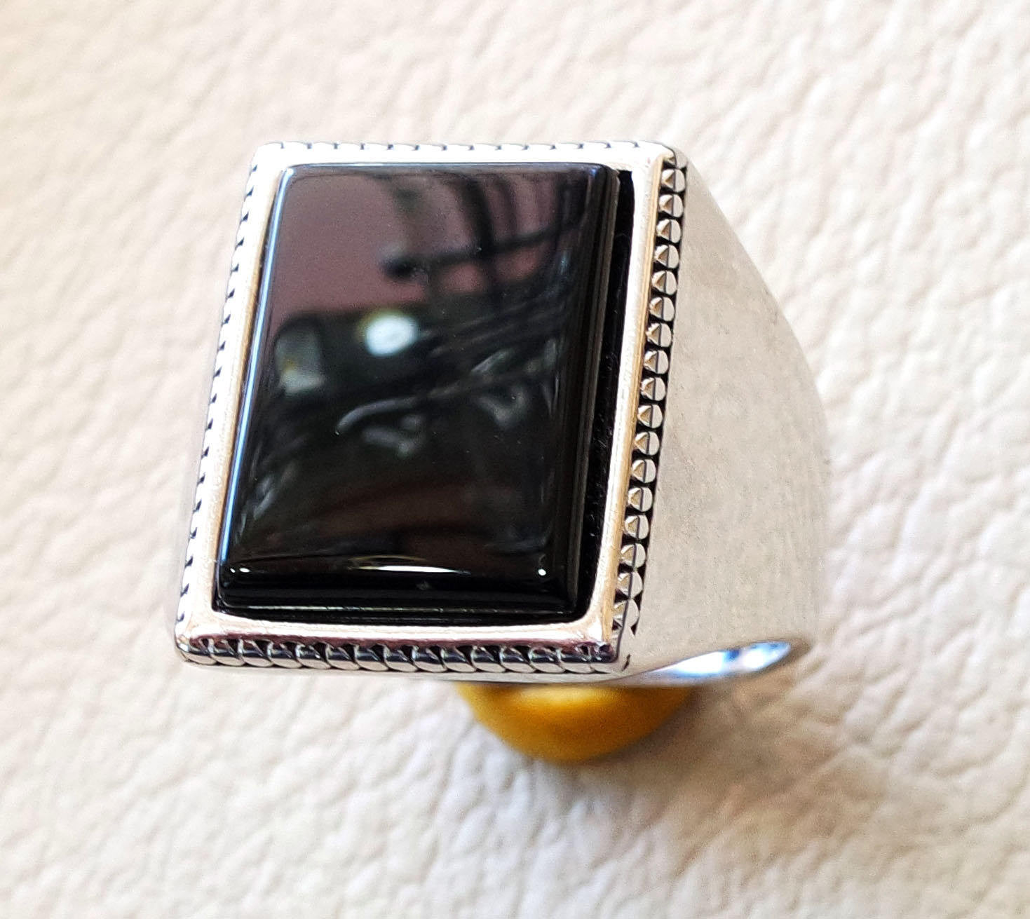 Rectangular silver onyx black aqeeq flat natural semi precious agate gemstone men ring sterling silver 925 jewelry all sizes fast shipping