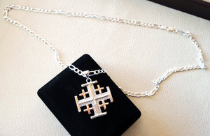 Jerusalem cross pendant two tone with heavy chain sterling silver 925 middle eastern jewelry christianity handmade heavy fast shipping