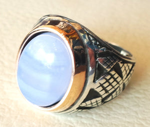 blue lace agate natural stone silver 925 huge men ring arabic turkish ottoman antique style man jewelry oval cabochon bronze frame all sizes