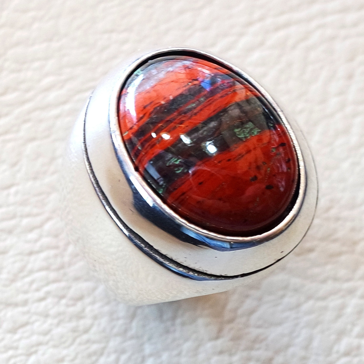 snake skin jasper stone natural gem sterling silver 925 heavy ring red and black oval semi precious cabochon man ring jewelry all sizes