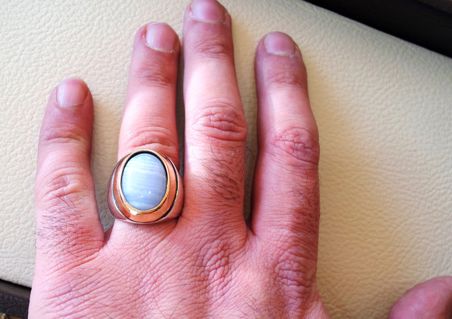 blue lace agate natural stone silver 925 huge men ring arabic turkish ottoman antique style man jewelry oval cabochon in bronze frame