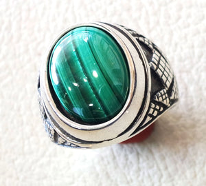malachite natural green stone sterling silver 925 man ring jewelry eastern turkish arabic style oval semi precious cabochon striped gem