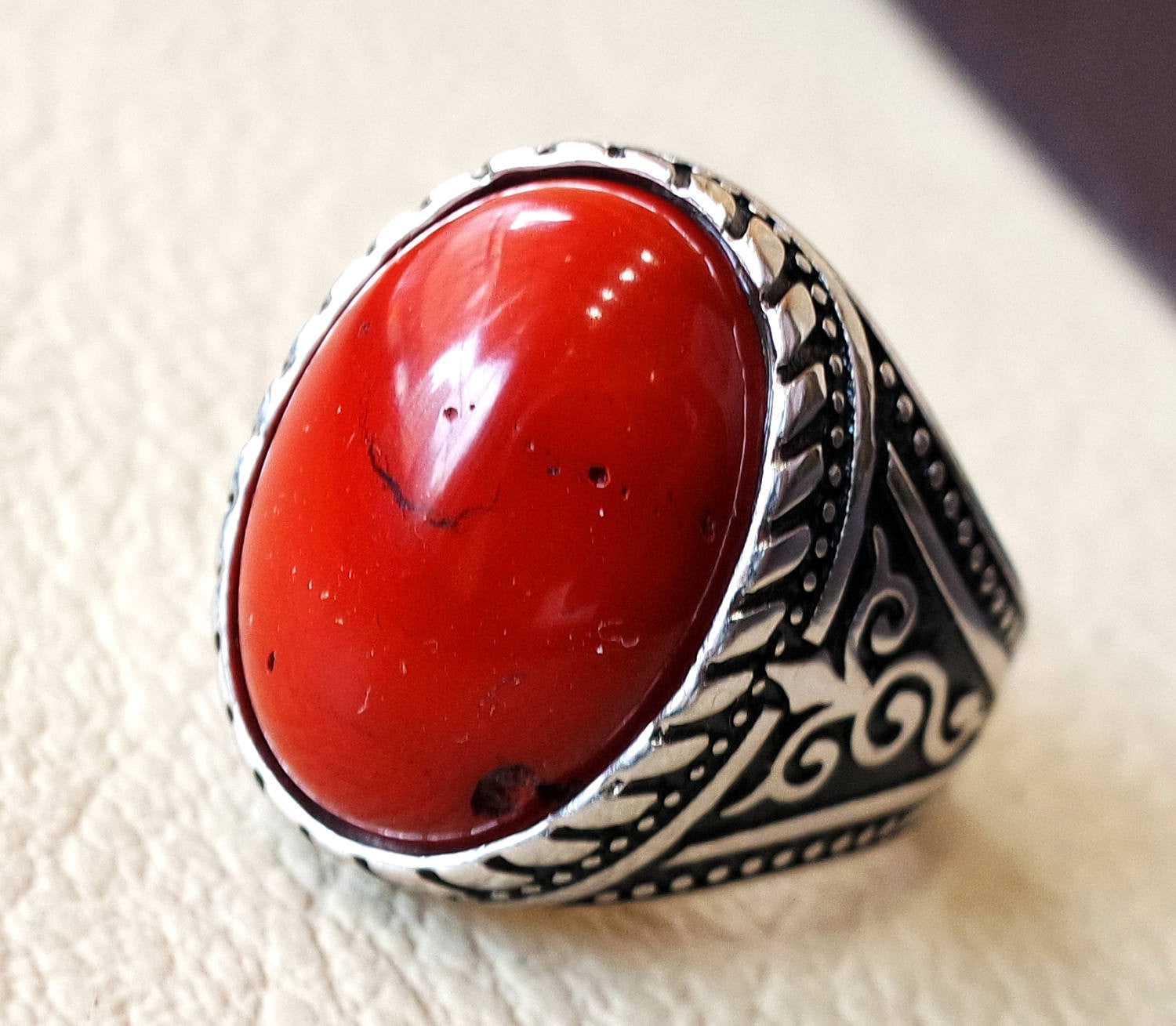 red jasper man ring stone natural aqeeq gem sterling silver 925 man ring oval semi precious cabochon jewelry fast shipping all sizes