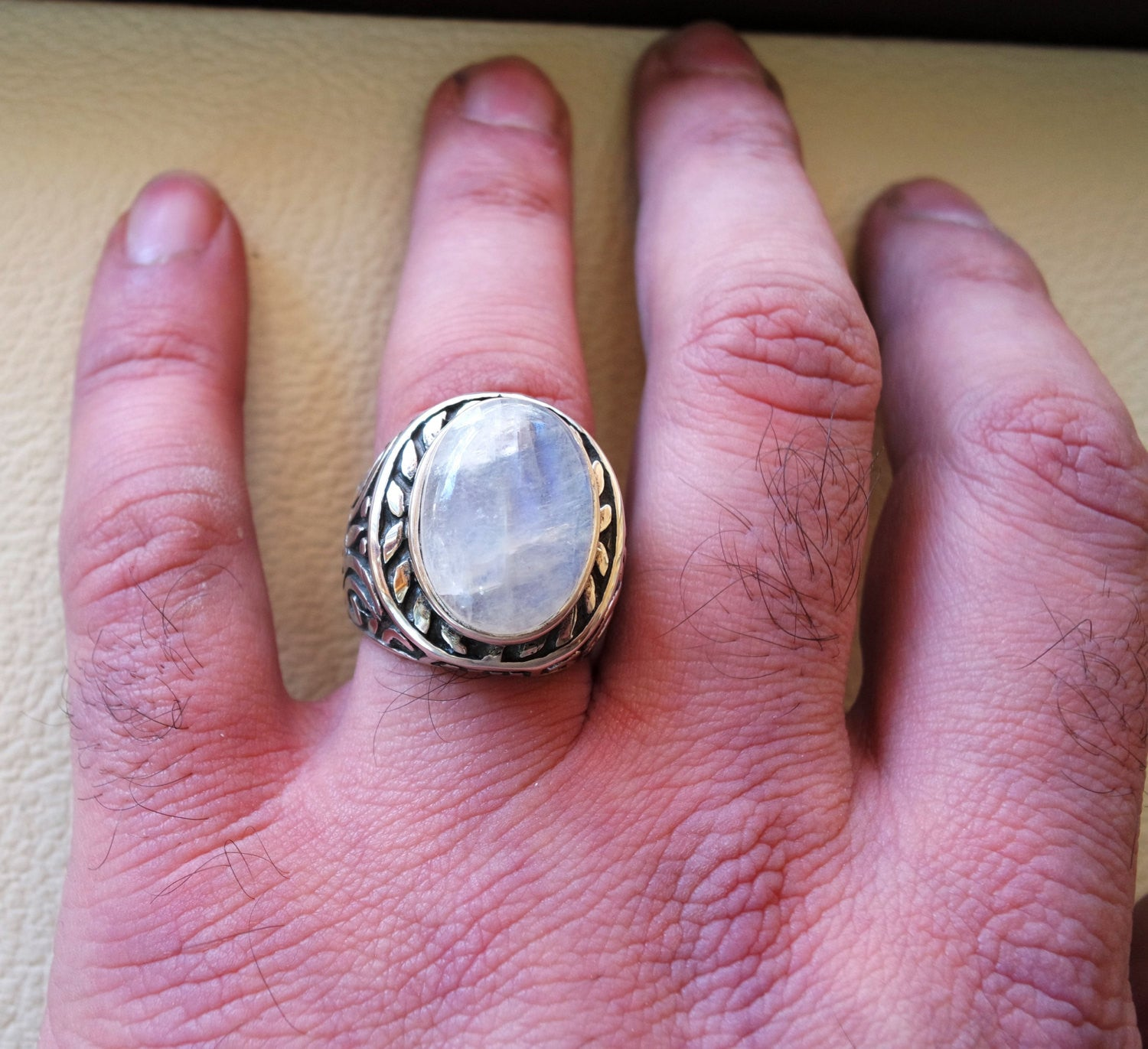moonstone huge natural stone dur al najaf men ring sterling silver 925 stunning genuine gem two ottoman arabic style jewelry all sizes