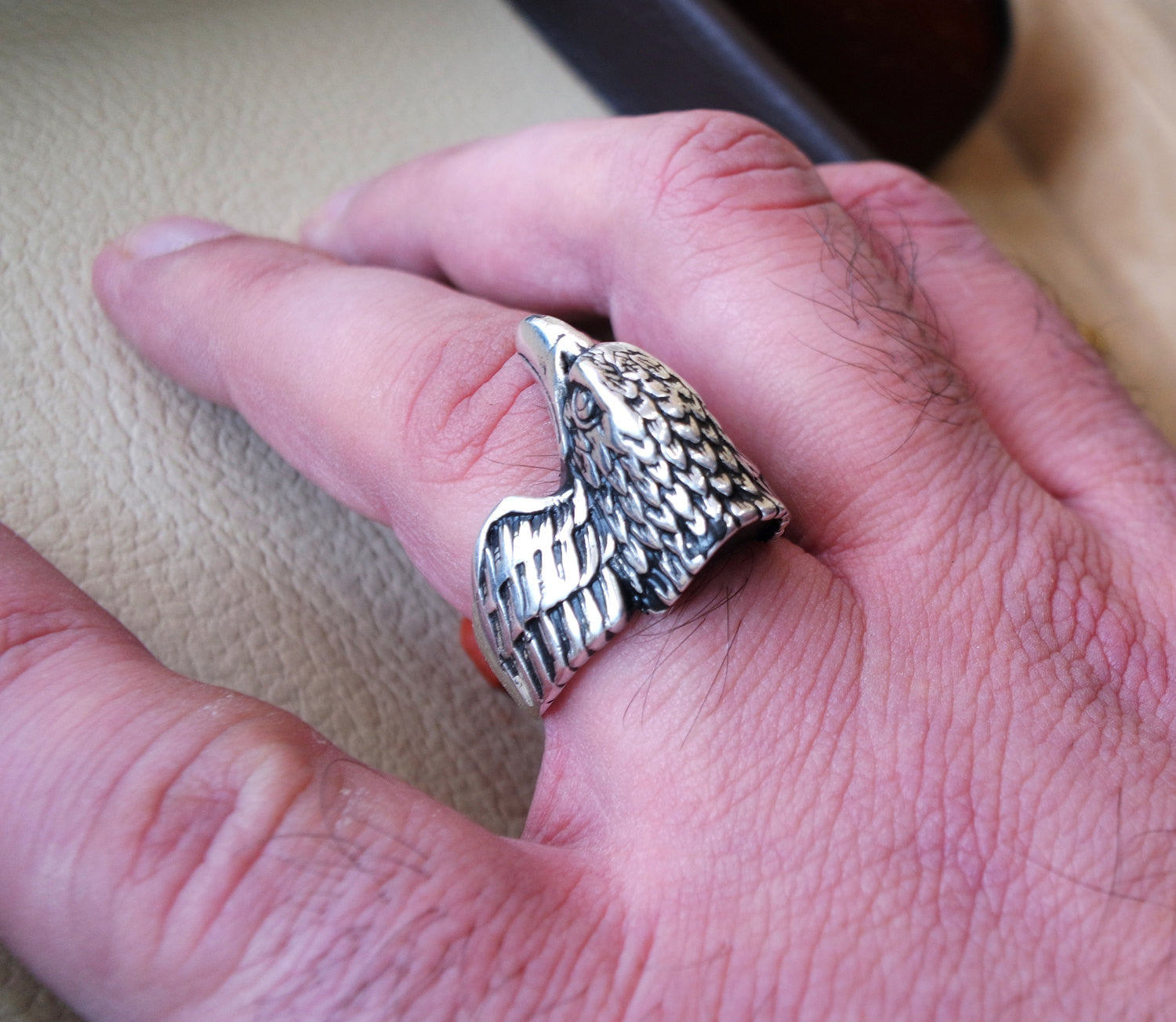 eagle falcon ring heavy sterling silver 925 man biker ring all sizes handmade animal head jewelry fast shipping detailed craftsmanship