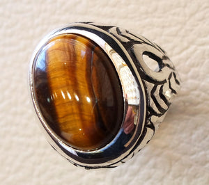 heavy men ring tiger eye cat eye natural cabochon semi precious oval stone ottoman antique  arabic style two tone sterling silver 925