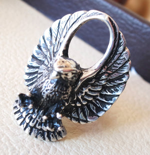 eagle falcon huge heavy ring heavy sterling silver 925 man biker ring all sizes handmade animal jewelry fast shipping detailed craftsmanship