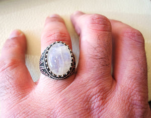 moonstone natural stone dur al najaf men ring jewelry sterling silver 925 stunning genuine gem two ottoman arabic style jewelry all sizes