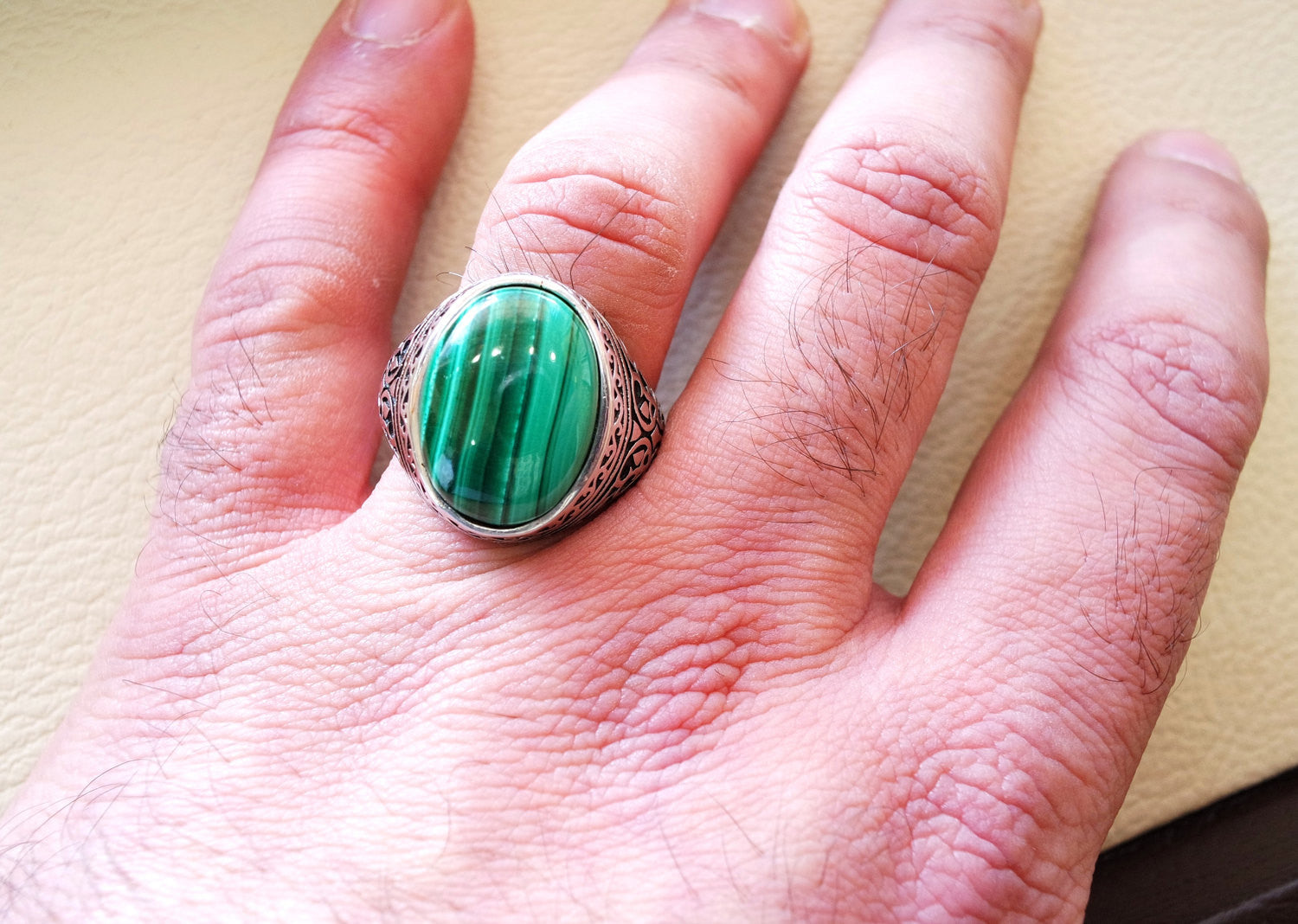 malachite big oval natural semi precious stone sterling silver man ring all sizes jewelry green cabochon antique middle eastern style