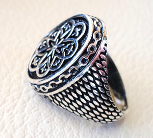 man ring mystic luck celtic talisman luck  sterling silver 925  sun flower shape any size antique style high quality jewelry