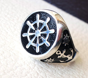 Ship wheel and anchor sailor fisherman  men ring heavy sterling silver 925 sea drahma symbol handmade all sizes jewelry fast shipping