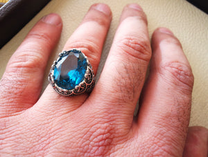 Deep blue cubic zircon men ring sterling silver 925 sky sea color unique stone all sizes jewelry fast shipping Identical to blue topaz