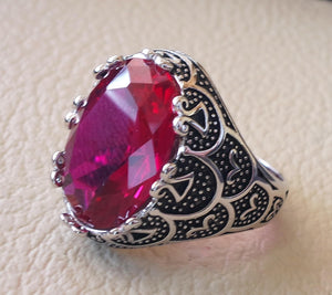 corundum red ruby identical synthetic stone high quality imitation  color huge heavy men ring sterling silver 925 any size ottoman jewelry