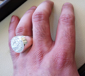 English silver coin heavy man ring round sterling silver 925 historical British replica half coin size close back all sizes jewelry