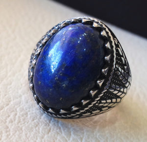 lapis lazuli oval cabochon natural dark blue stone man ring sterling silver 925 men jewelry all sizes 18 * 13 mm antique middle eastern