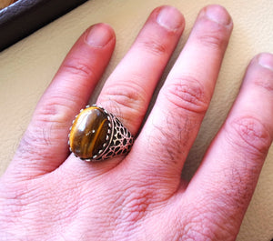 cat eye tiger eye semi precious natural cabochon stone men ring sterling silver 925 any size oriental ornament middle eastern arabic jewelry