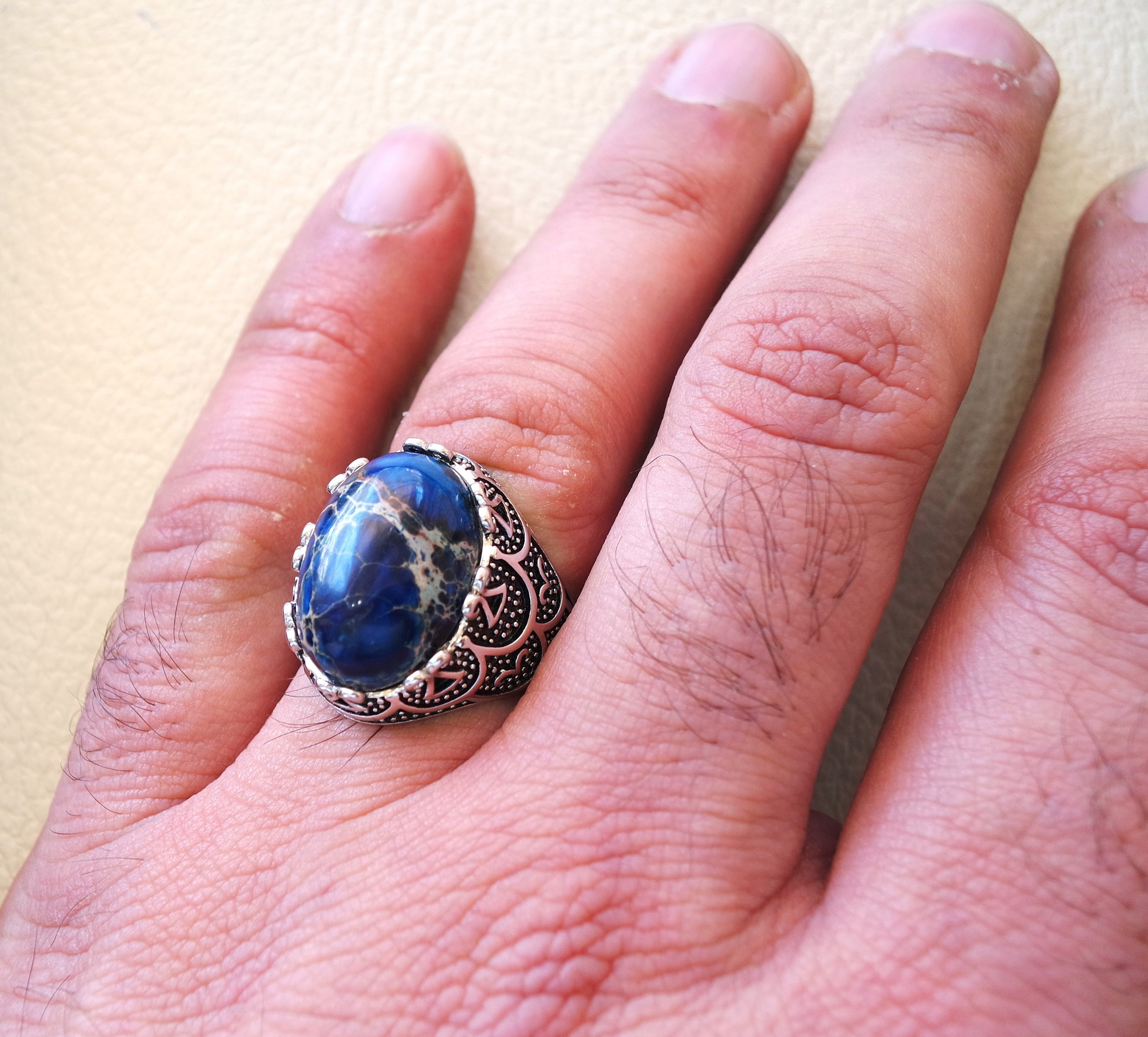 Dark blue sea sediment jasper men ring multi color black grey stone all sizes semi precious sterling silver 925 man antique jewelry