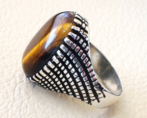 cat eye tiger eye semi precious naturl stone heavy men ring sterling silver 925 any size ottoman turkish middle eastern jewelry