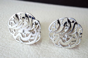 cufflinks , cuflinks 2 words every piece calligraphy arabic customized any name made to order sterling silver 925 heavy men jewelry