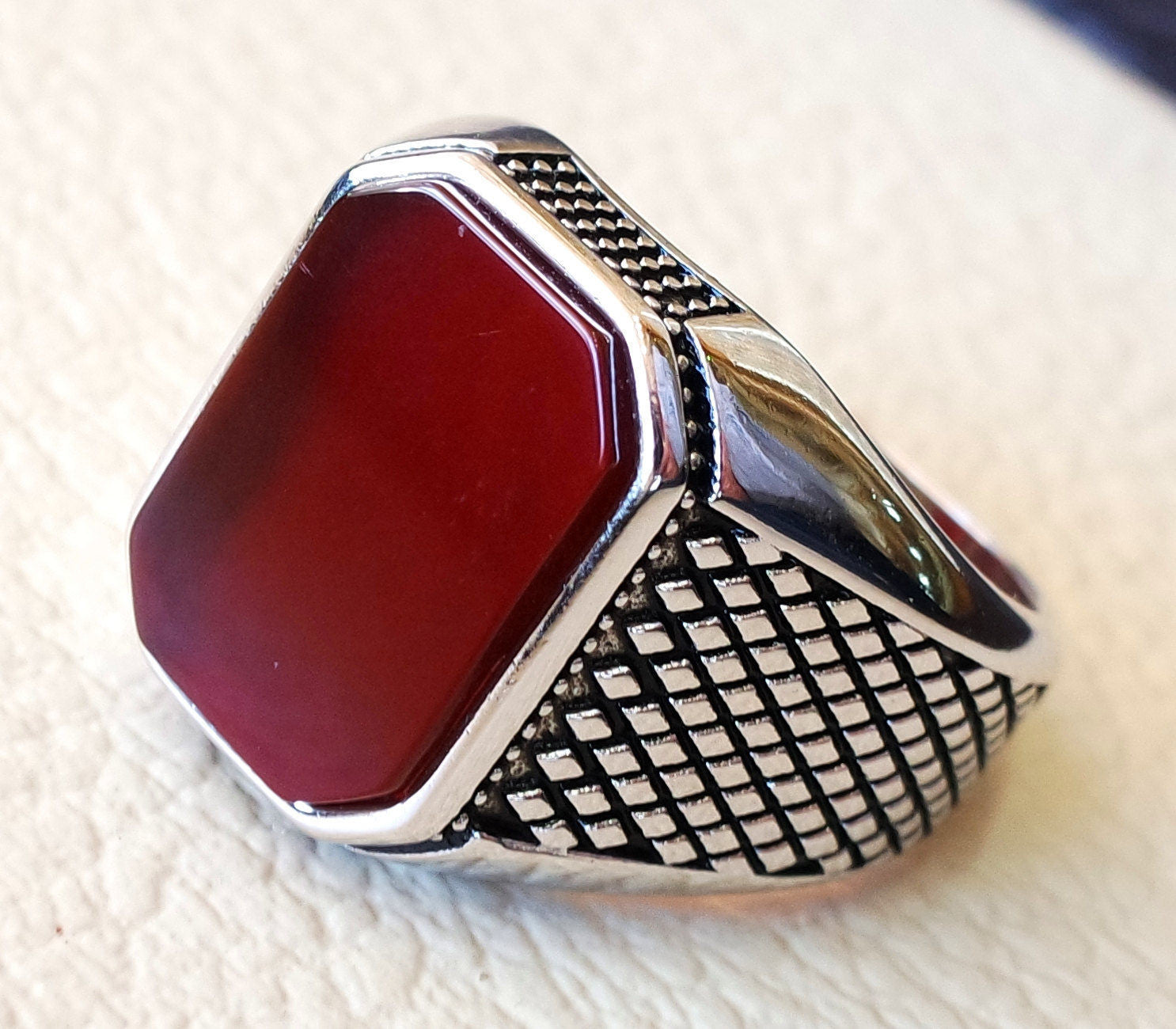 cushion rectangular octagon agate red aqeeq carnelian man ring sterling silver 925 natural stone gem all sizes jewelry fast shipping