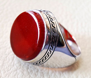 Aqeeq agate carnelian man ring sterling silver 925 red natural round flat semi precious  all sizes fast shipping middle eastern jewelry