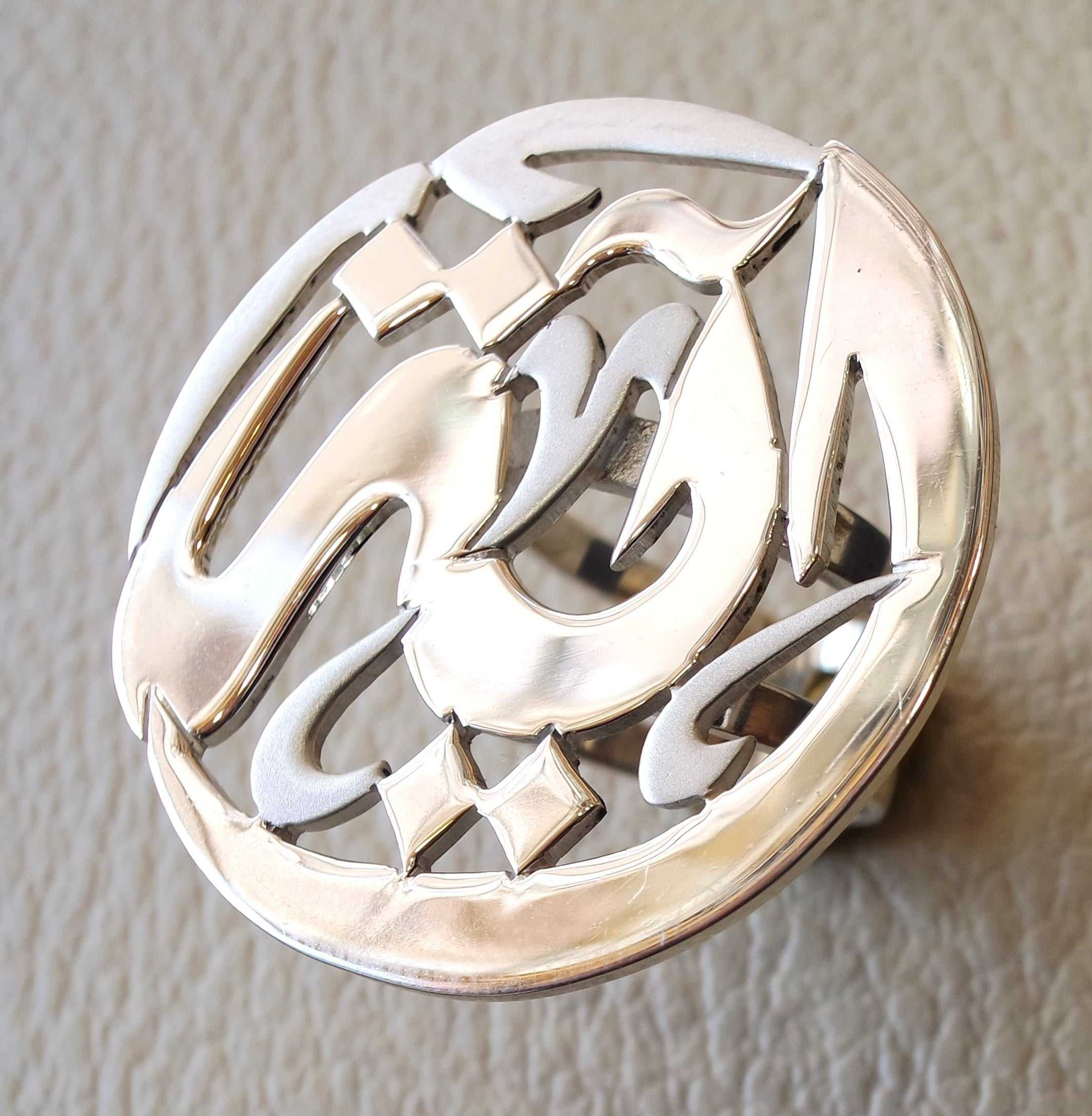 arabic customized calligraphy name round double shank ring sterling silver 925 designed to fit all sizes high quality jewelry