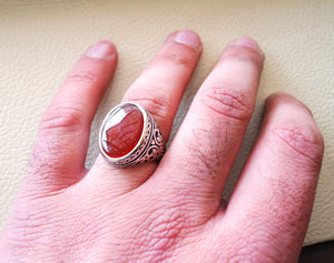 aqeeq natural flat agate carnelian semi precious stone oval red cabochon gem man ring sterling silver arabic middle eastern turkey style