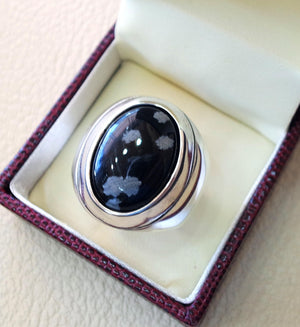 Snowflake obsidian black aqeeq heavy men ring natural stone sterling silver 925 vintage turkish style all sizes  fast shipping