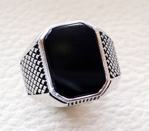 cushion rectangular octagon black onyx agate aqeeq man ring sterling silver 925 natural stone gem all sizes jewelry fast shipping