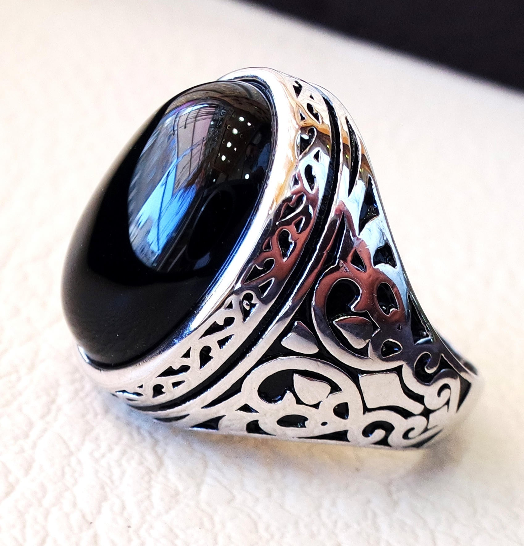 man ring sterling silver 925 all sizes onyx natural agate semi precious cabochon black gem arabic turkey antique middle eastern jewelry