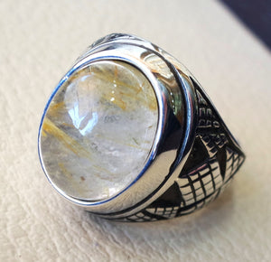 Rutile quartz natural stone semi preciousoval cabochon sterling silver 925 man ring ottoman turkey middle eastern antique style any size