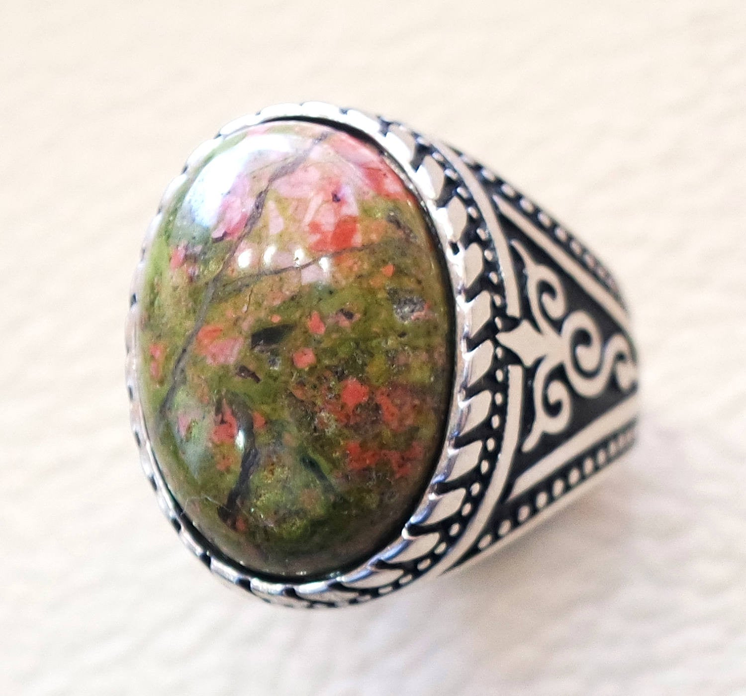 unakite men ring natural multi color stone oval cabochon sterling silver 925 high quality orange green pink semi precious jewelry