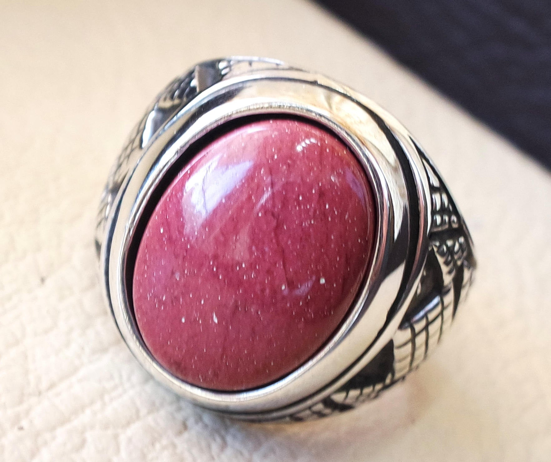 red rose mookaite jasper aqeeq natural stone sterling silver 925 heavy men ring vintage arabic ottoman style all sizes fast shipping