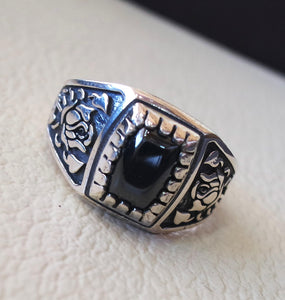 cushion small pinkie  black  onyx stone sterling silver 925 simple man ring jewelry any size middle eastern antique style fast shipping