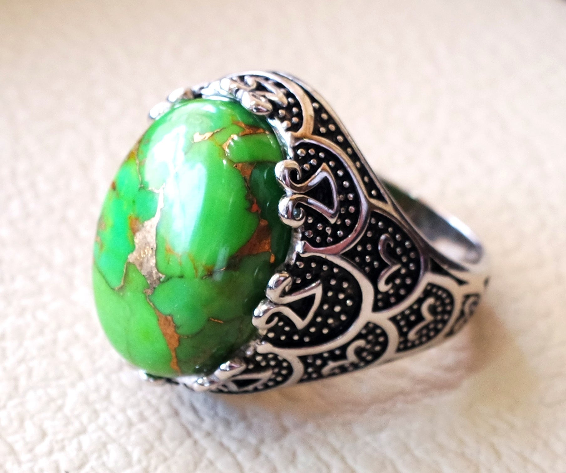 green copper turquoise natural stone detailed men ring sterling silver 925 stunning genuine gem ottoman arabic style jewelry all sizes