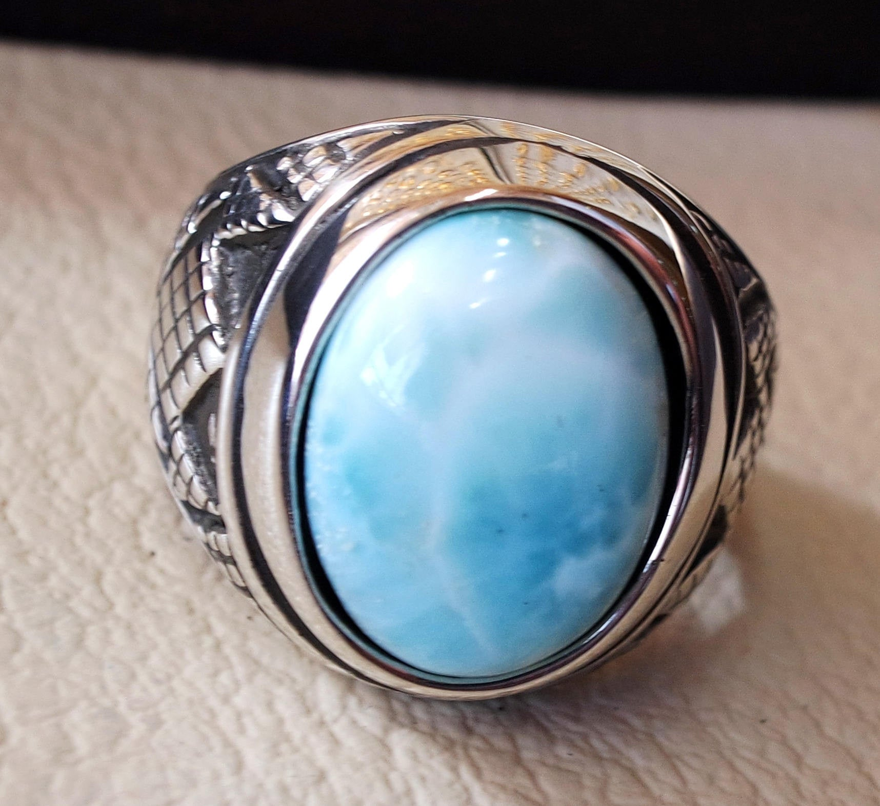 Dominican larimar blue natural stone ring sterling silver 925 men jewelry all sizes semi precious gem highest quality middle eastern style
