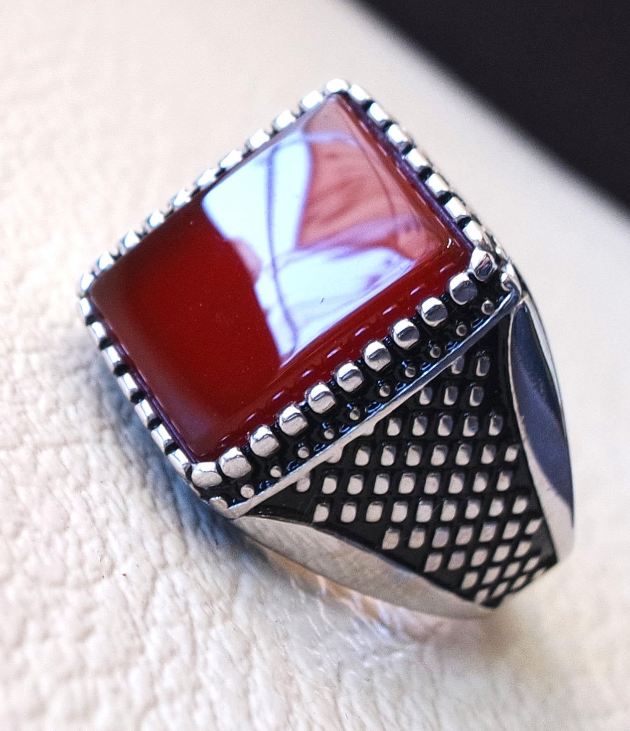 Men ring rectangular silver aqeeq flat natural semi precious agate carnelian gemstone  sterling silver 925 jewelry all sizes fast shipping