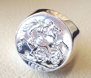 English silver coin heavy man ring round sterling silver 925 historical British replica full coin size close back huge all sizes jewelry