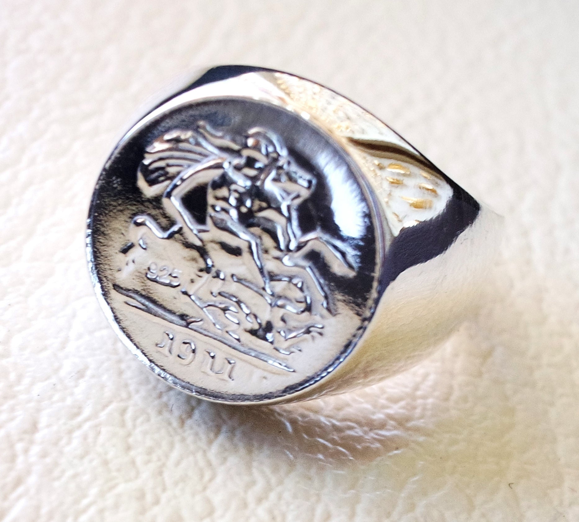 English silver coin heavy man ring round sterling silver 925 historical British replica quarter coin size close back all sizes jewelry
