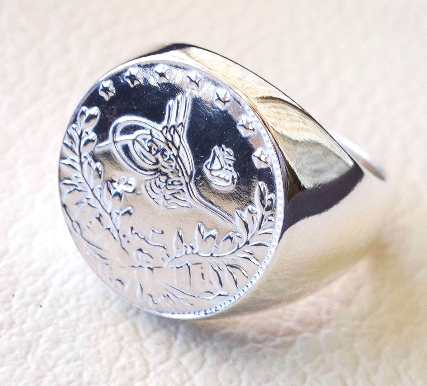 Rashadi silver coin heavy man ring round sterling silver 925 historical ottoman replica half coin size close back all sizes jewelry