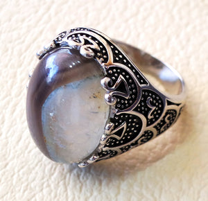 Botswana agate natural yamani semi precious two color high quality aqeeq stone men ring sterling silver 925 all sizes jewelry fast shipping