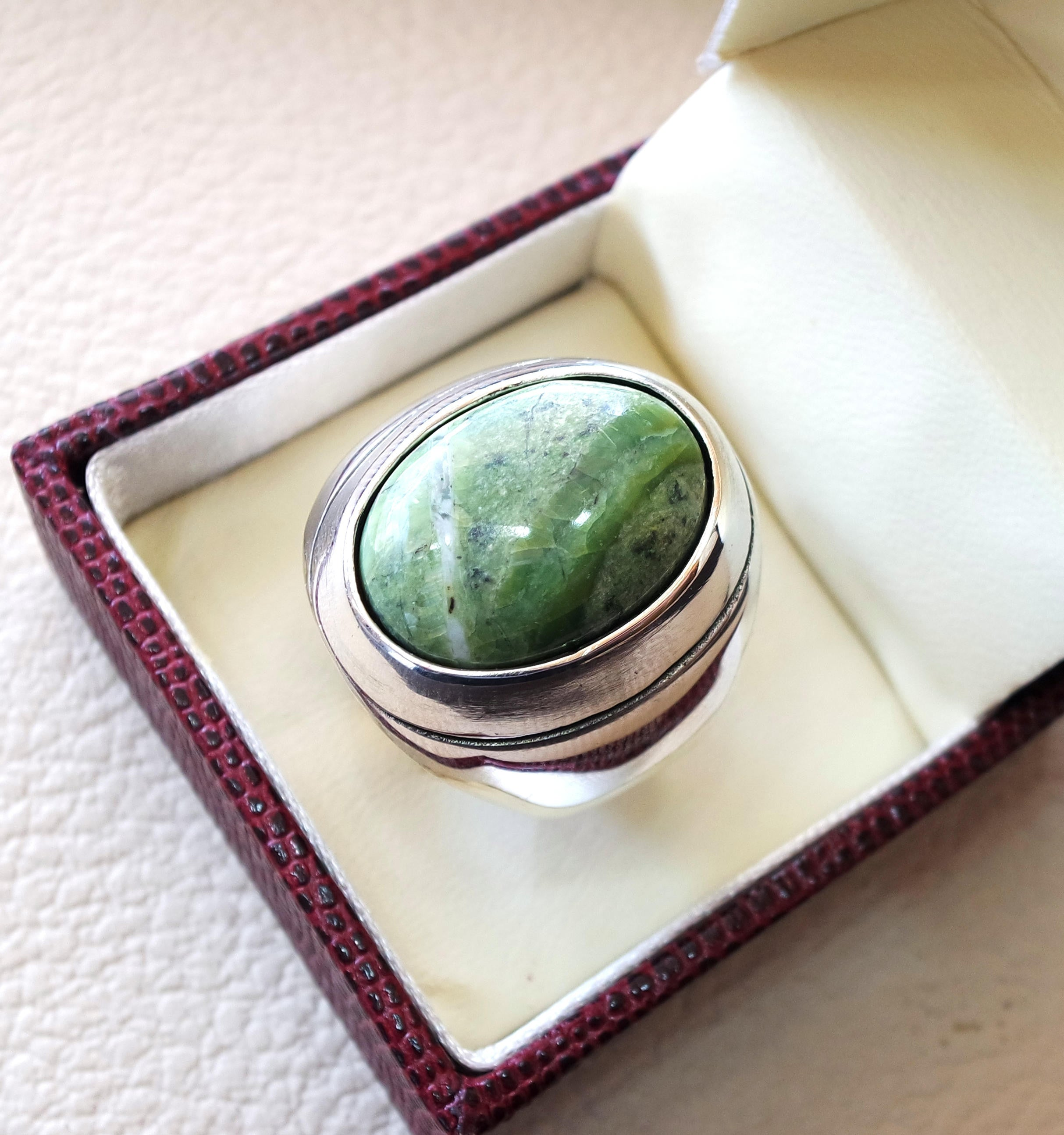green swiss opal huge natural stone men ring sterling silver 925 stunning genuine gem ottoman arabic style jewelry all sizes