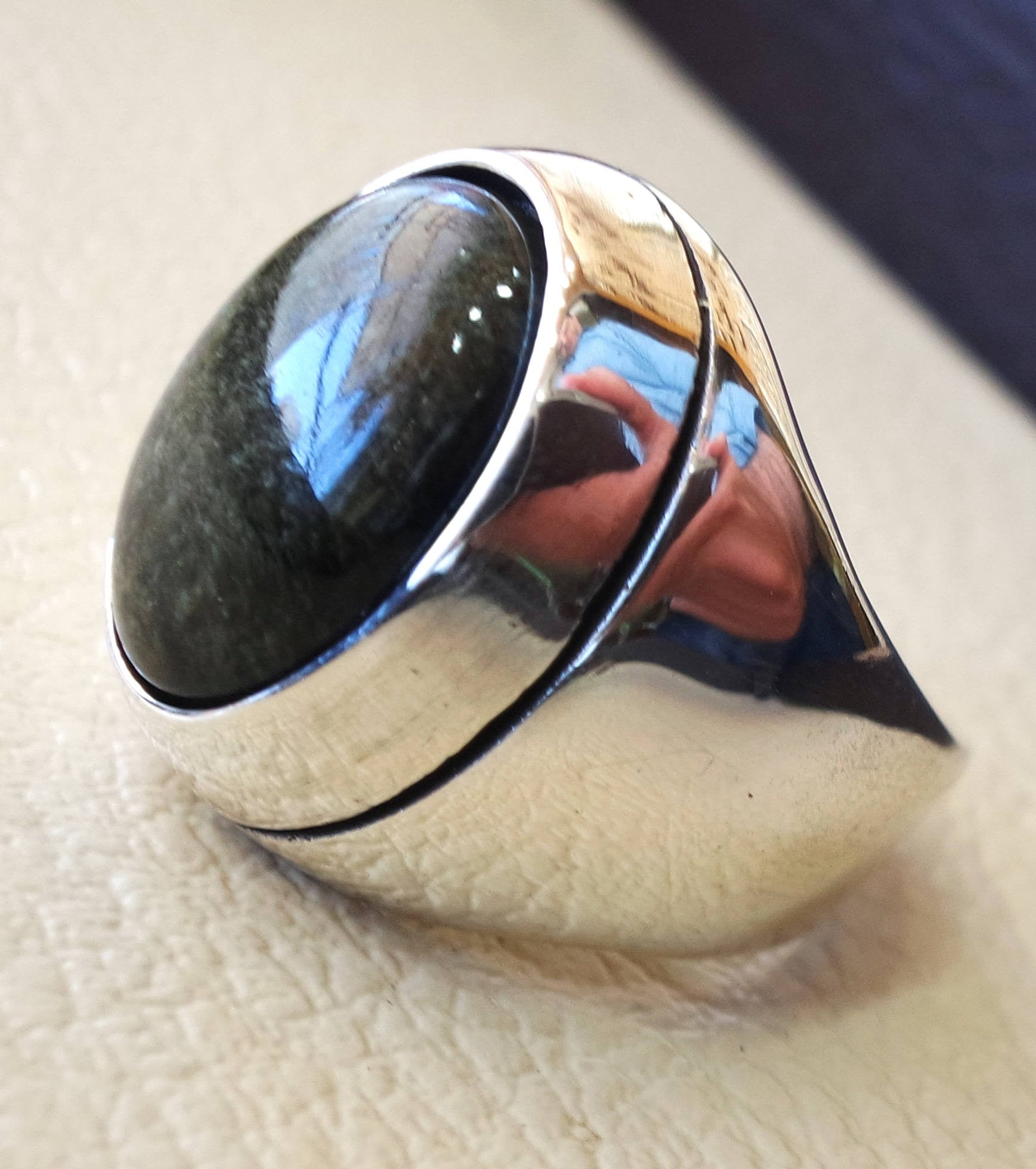 Gold sheen obsidian black aqeeq heavy men ring natural stone sterling silver 925 vintage turkish style all sizes  fast shipping