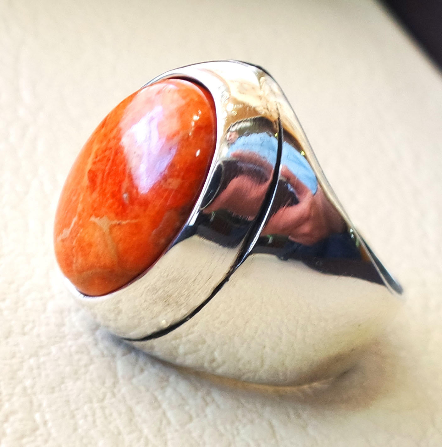 Sponge coral Murjan  heavy men ring orange to red natural stone sterling silver 925 vintage turkish style all sizes  fast shipping مرجان