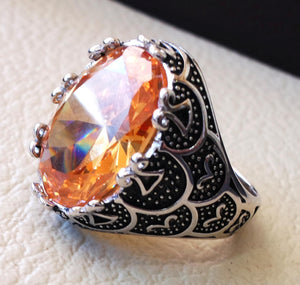 champagne golden cubic zircon men ring sterling silver 925  color unique stone all sizes jewelry fast shipping Identical to colored diamond