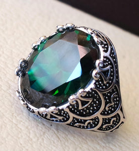 corundum green emerald synthetic stone high quality imitation  color huge heavy men ring sterling silver 925 any size ottoman jewelry