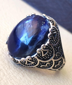Sodalite natural stone dark royal blue men ring sterling silver 925 stunning genuine gem  ottoman arabic style jewelry all sizes